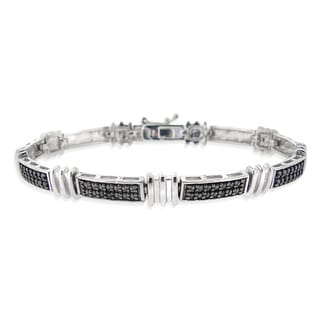 DB Designs Rhodium-plated Black Diamond Accent Link Bracelet