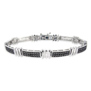 DB Designs Rhodium-plated Black Diamond Accent Link Bracelet
