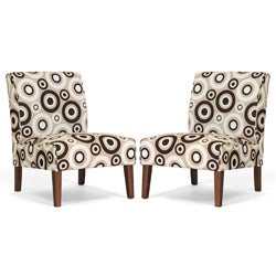 Davis Tan Circles Accent Chairs Set of 2 Free Shipping Today Overstock