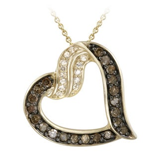 Glitzy Rocks 18k Gold/ Silver 5/8ct TDW Brown Diamond and White Topaz Heart Necklace