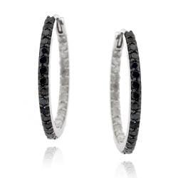 DB Designs Sterling Silver 1ct TDW Black and White Diamond Hoop Earrings