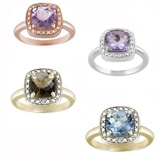 Glitzy Rocks Sterling Silver Gemstone and Diamond Accent Square Ring