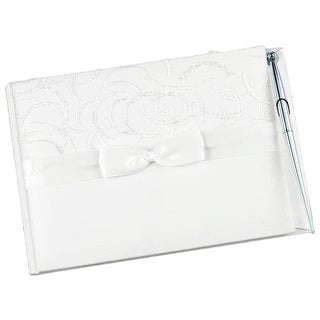 Hortense B. Hewitt Ivory Satin & Swirls Wedding Guest Book with Pen
