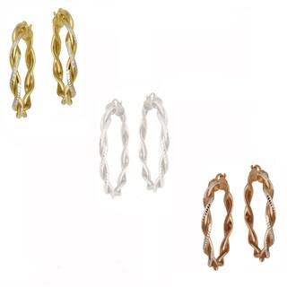 Mondevio Two-tone Gold over Silver Diamond-cut Hoop Earrings