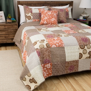 Greenland Home Fashions Oversized Stella Multicolor 100-percent Cotton 3-piece Patchwork Quilt Set