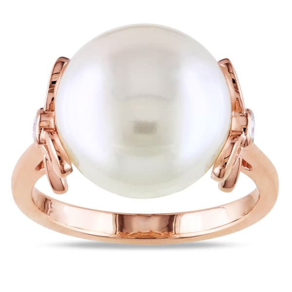 Miadora 10k Rose Gold Cultured Freshwater Pearl and Diamond Accent Ring (G-H, I1-I2)