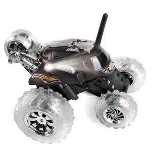 Blue Hat Remote Control Thunder Tumbler Plastic Rally Car with Flashing LED Lights (Option: Black)