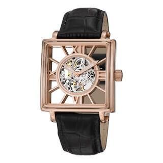 Stuhrling Original Men's 'Winchester Square' Leather Strap Watch