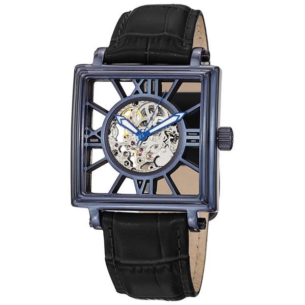 Stuhrling Original Men's 'Winchester Square' Blue Bezel Leather Watch