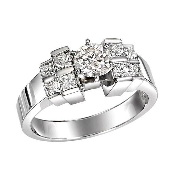 14k White Gold 1-1/6ct TDW Round and Princess Diamond Ring (Size 5.5)