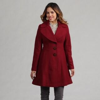Jessica Simpson Women's Claret Red Peacoat