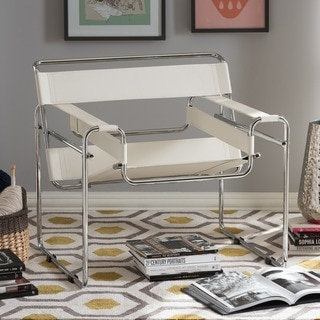Jericho White Bonded Leather Modern Accent Chair