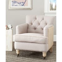 Safavieh Manchester Linen/Jute Beige Tufted Club Chair