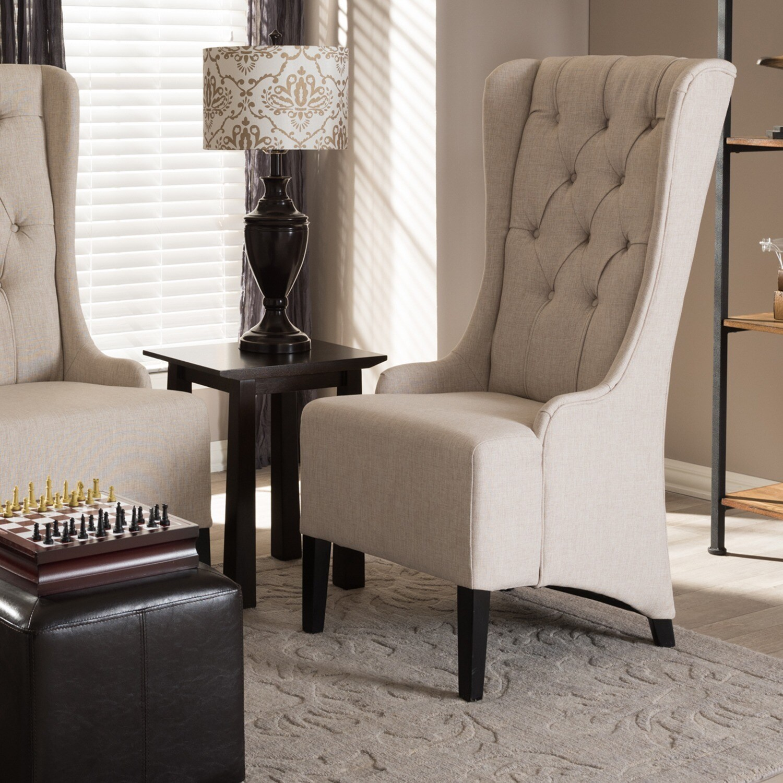 Shop Vincent Beige Linen Modern Accent Chair Free