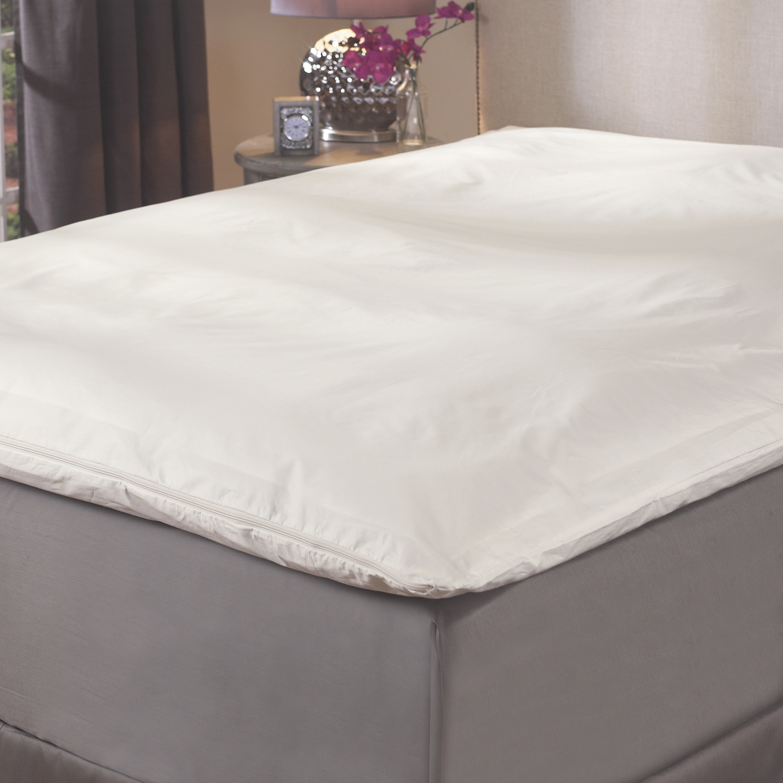 Protective Featherbed/ Fiberbed Cotton Zip Cover