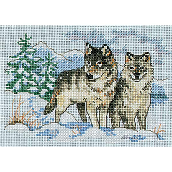"""A Pair Of Wolves Mini Counted Cross Stitch Kit-7""""X5"""""""