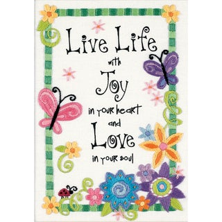"Live Life Mini Crewel Kit-5""X7"" Stitched In Thread"