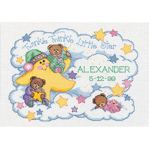 """Twinkle Twinkle Birth Record Counted Cross Stitch Kit-14""""X10"""" 14 Count"""