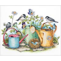 """Watering Cans Stamped Cross Stitch Kit-14""""X11"""""""
