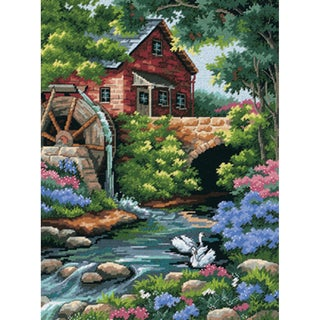 """Old Mill Cottage Needlepoint Kit-12""""X16"""" Stitched In Thread"""