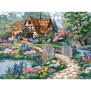 "Cottage Retreat Needlepoint Kit-16""X12"" Stitched In Thread"