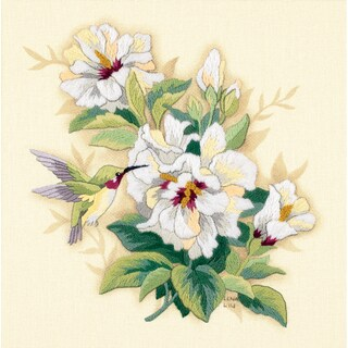 "Hibiscus Floral Crewel Kit-12""X12"" Stitched In Wool & Floss"
