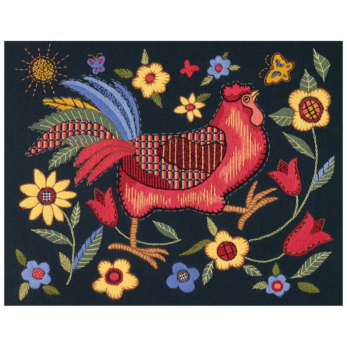 "DIMENSIONS Rooster On Black Crewel Kit-11""X14"" Stiched In..."