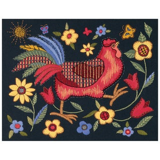 "Rooster On Black Crewel Kit-11""X14"" Stiched In Wool & Thread"
