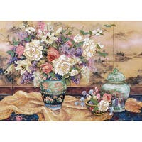 "Oriental Splendor Crewel Kit-20""X14"" Stitched In Wool & Yarn"