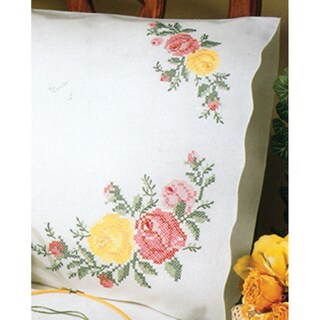 "Stamped Pillowcase Pair 20""X30"" For Embroidery-Rose Classic"