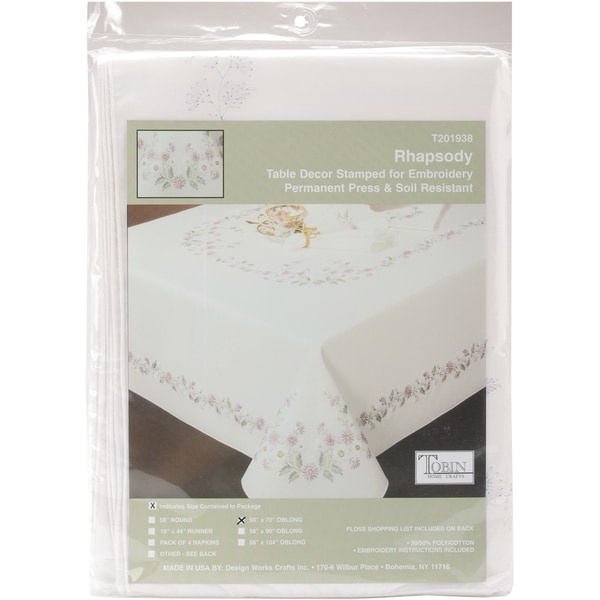 """Rhapsody Stamped Oblong Tablecloth For Embroidery-50""""X70"""""""