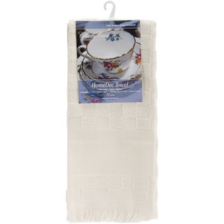 "Home Dec Check Towel 16""X26""-Ecru"