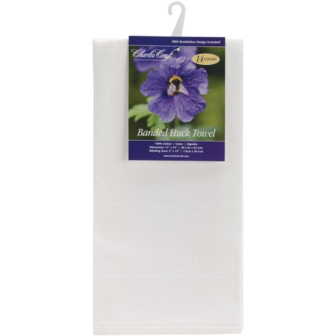 "Banded Huck Towel 15""X25""-White"