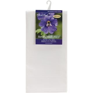 """Banded Huck Towel 15""""X25""""-White"""