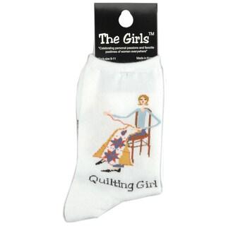 The Girls Socks-Quilting Girl -White