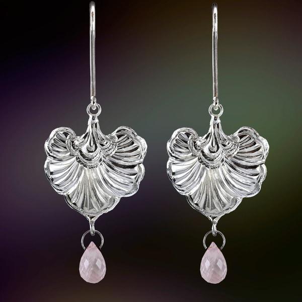 Ashanti Sterling Silver and Rose Quartz Briolette Heart Dangle Earrings (Sri Lanka)
