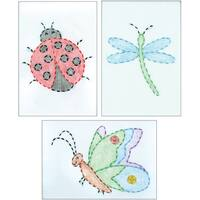 """White Stamped Beginner Embroidery Kit 6""""X8"""" Samplers 3/Pkg-Cute As A Bug"""