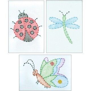 "White Stamped Beginner Embroidery Kit 6""X8"" Samplers 3/Pkg-Cute As A Bug"
