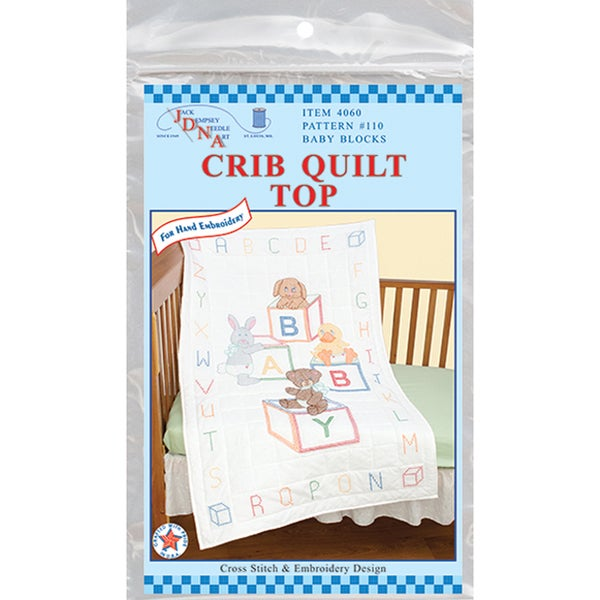 "Stamped White Quilt Crib Top 40""X60""-Baby Blocks"