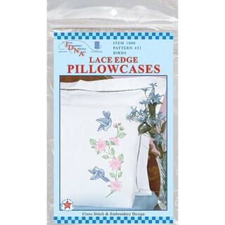 Stamped Pillowcases With White Lace Edge 2/Pkg-Birds