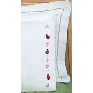 Children's Stamped Pillowcase With White Perle Edge 1/Pkg-Ladybugs