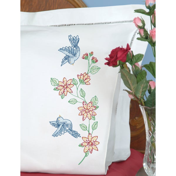 Stamped Pillowcases With White Perle Edge 2/Pkg-Birds