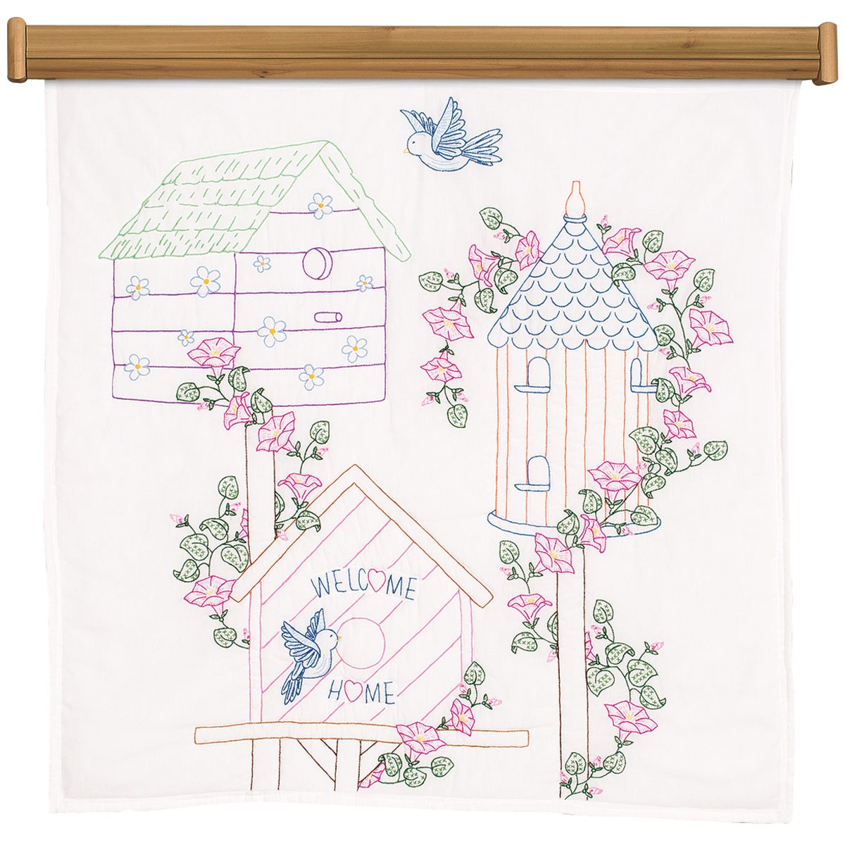 "Stamped White Wall Or Lap Quilt 36""X36""-Birdhouses"
