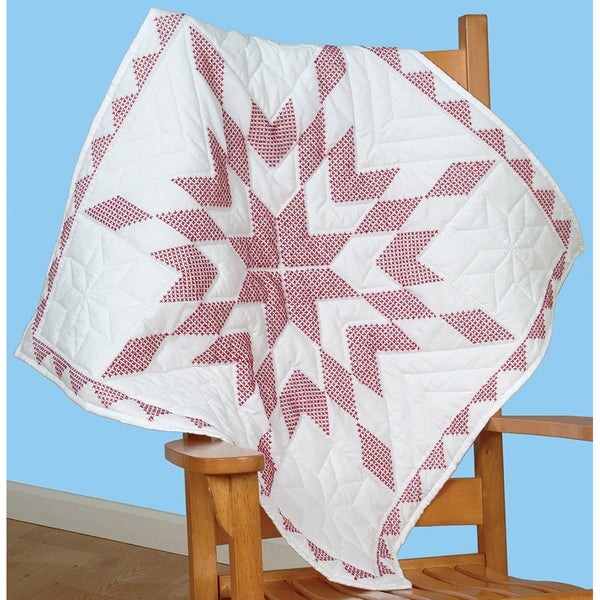 """Stamped White Wall Or Lap Quilt 36""""X36""""-XXX Diamond"""