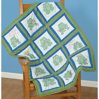 """Themed Stamped White Quilt Blocks 9""""X9"""" 12/Pkg-Frogs"""