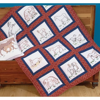 "Themed Stamped White Quilt Blocks 9""X9"" 12/Pkg-Horses"