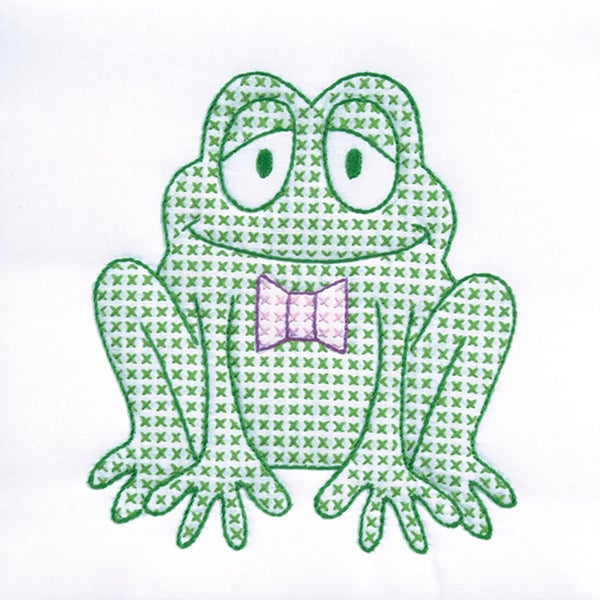 "Stamped White Quilt Blocks 9""X9"" 12/Pkg-Froggy"