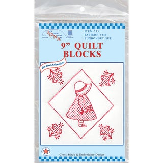 "Stamped White Quilt Blocks 9""X9"" 12/Pkg-Sunbonnet Sue"