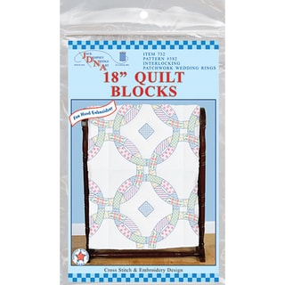 "Stamped White Quilt Blocks 18""X18"" 6/Pkg-Wedding Rings"