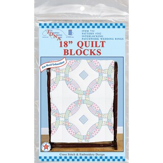 "Stamped White Quilt Blocks 18""X18"" 6/Pkg-Wedding Rings"